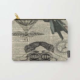 newspaper print dictionary page binoculars hot air balloon victorian steampunk Carry-All Pouch
