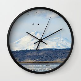 Mt Shasta and Waterfowl Wall Clock
