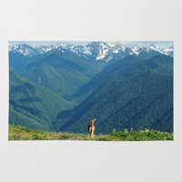 the mountains are calling Area & Throw Rugs featuring Nature's Calling by RDelean