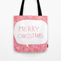 merry christmas Tote Bags featuring Merry Christmas! by Fimbis