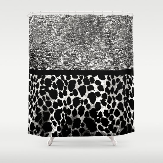 animal print leopard silver and black shower curtain by