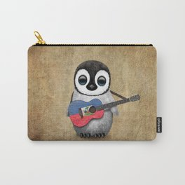 Baby Penguin Playing Haitian Flag Acoustic Guitar Carry-All Pouch