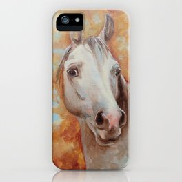 Grey Horse Portrait Autumn Scenic Painting iPhone Case