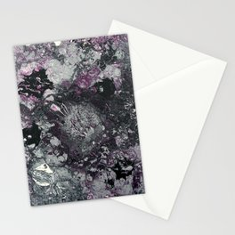 Black Silver White Purple Pattern Stationery Cards