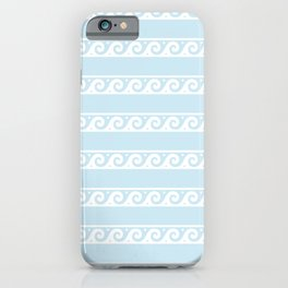 Pale Blue and white Greek wave ornament pattern iPhone Case
