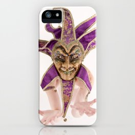 1387s-MM Jester Mask on a Implied Nude Fine Art Model iPhone Case
