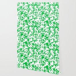 Spots - White and Dark Pastel Green Wallpaper