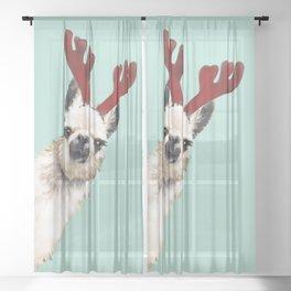 Llama Reindeer in Green Sheer Curtain
