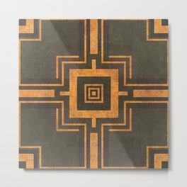 Old Mosaic Tiled Pattern - Copper Bronze Orange On Black Metal Print