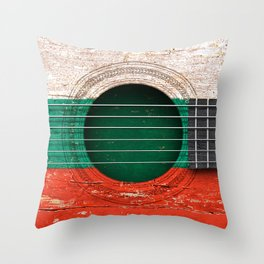 Old Vintage Acoustic Guitar with Bulgarian Flag Throw Pillow