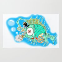 steam punk Area & Throw Rugs featuring Whimsical Steam Punk Fish by J&C Creations