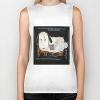 sheep Biker Tanks featuring sheep by woman