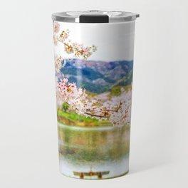 Beautiful cherry blossom and pond 2 Travel Mug
