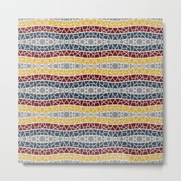 Mosaic Wavy Stripes in Navy, Burgundy, Gold and Grays Metal Print
