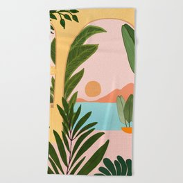 Moroccan Coast - Tropical Sunset Scene Beach Towel