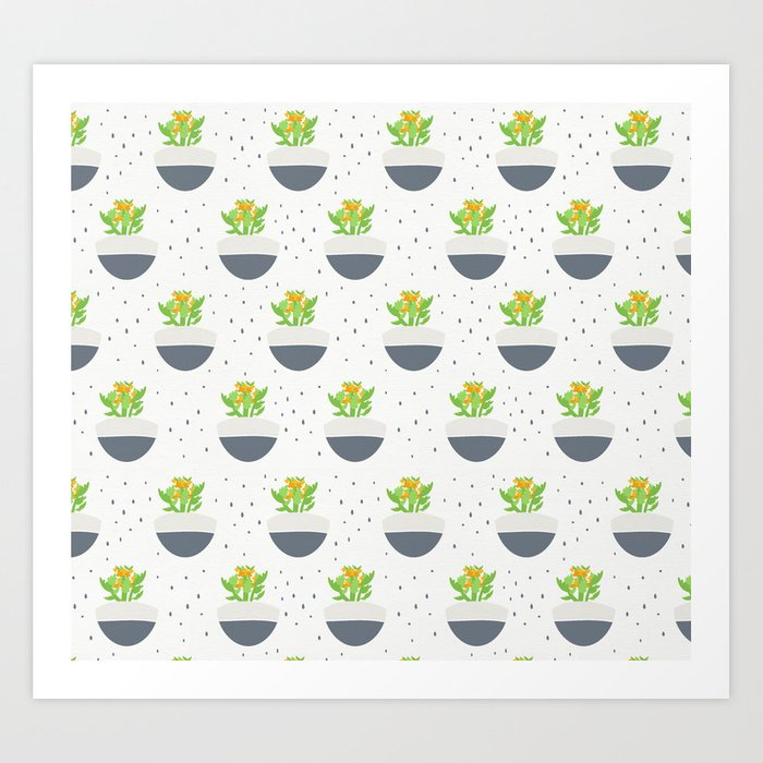 Potted Succulent Kalanchoe Illustrated Pattern