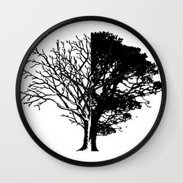Half Tree Leaves Half No Leaves Art Wall Clock