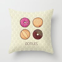 donuts Throw Pillows featuring Donuts by Monstruonauta