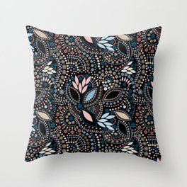 Abstract pattern with beads on black Throw Pillow