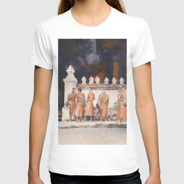 Watercolor painting of saffron dressed Buddhist monks outside of Wat in Luang Prabang, Laos. T-shirt