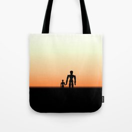 New Day Sunrise or Sunset for Father and Child Wooden Dolls Tote Bag