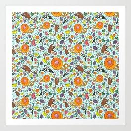 Cute Rainforest Pattern Art Print