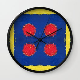 Red dots & yellow square Wall Clock