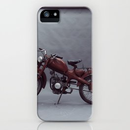 Old motorcycle photography, old motorbike, man cave sign, garage wall art iPhone Case