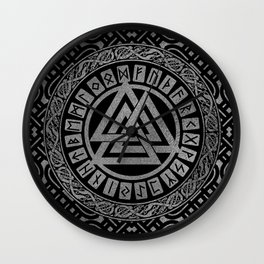 Silver Metallic Valknut Symbol on Celtic Pattern Wall Clock