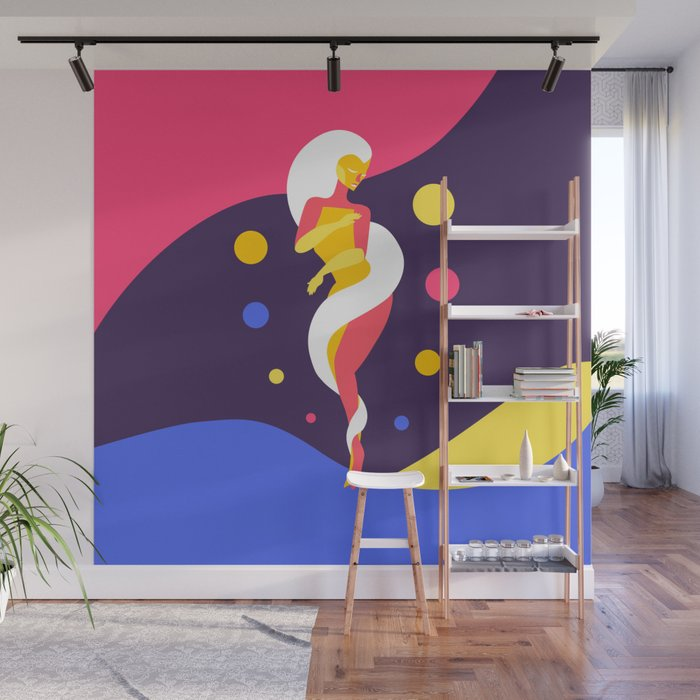 Funky Universe Colorful Lady Wall Mural by alicewieckowska Society6