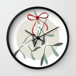 Holiday Mistletoe Wall Clock