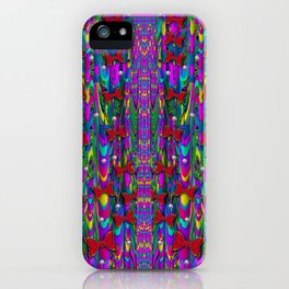 Butterflies and pearls in the rainbow forest iPhone Case