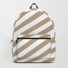 Pantone Hazelnut & White Stripes Fat Angled Lines - Stripe Pattern Backpack
