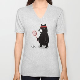 Badminton Bear Unisex V-Neck