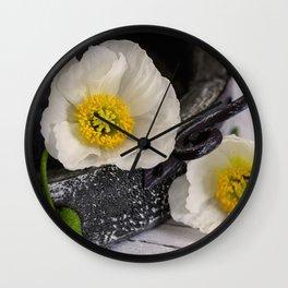 White Poppy still life photography Wall Clock