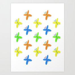 Multicoloured Butterflies Art Print