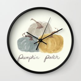 Pumpkin Patch Trio in watercolor neutrals Wall Clock