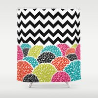Tropical Flowers Chevron Shower Curtain