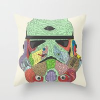 gore Throw Pillows featuring Gore Trooper  by Josh Ln