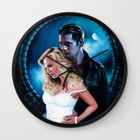 true blood Wall Clocks featuring True Blood - Sookie & Eric by Jaime Gervais