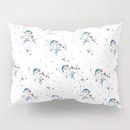 Christmas Snowman Couple with Bird friend Pillow Sham