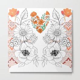 Flower Lovers Line Drawing Metal Print