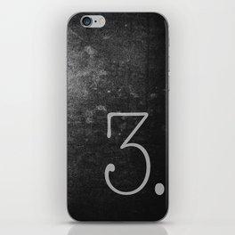 NUMBER 3 BLACK iPhone Skin