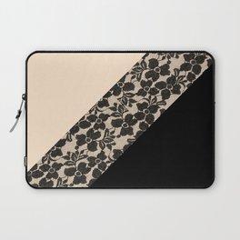 Elegant Peach Ivory Black Floral Lace Color Block Laptop Sleeve