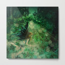 Abstract illustration of fairy fly in the forest Metal Print