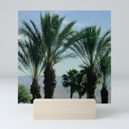 Tranquil Palm Trees, Mountains and Sky Scenic Mini Art Print