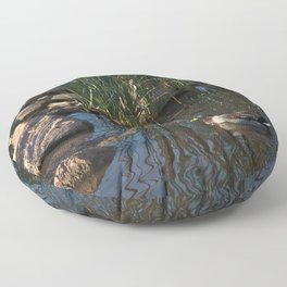 The Duck Between The Reeds And Rocks Floor Pillow