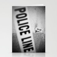 police Stationery Cards featuring Police Line by GF Fine Art Photography
