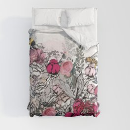 Beautiful vector illustration with peony flowers, herbs, plants and bees in vintage style Comforters