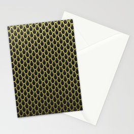 Chain Link Gleaming Golden Metal Pattern Stationery Cards